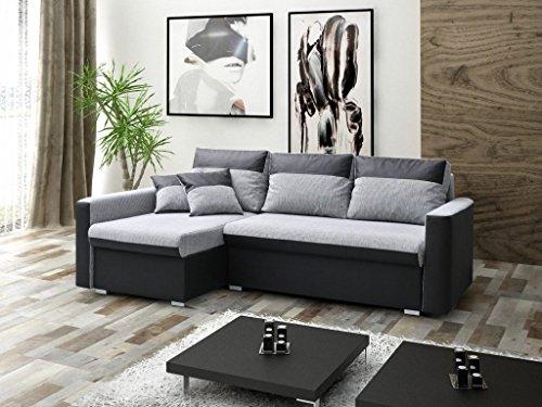 mb-moebel Ecksofa Sofa Eckcouch Couch mit Schlaffunktion und zwei Bettkasten Ottomane L-Form Schlafsofa Bettsofa Polstergarnitur Wohnlandschaft - BERLIN