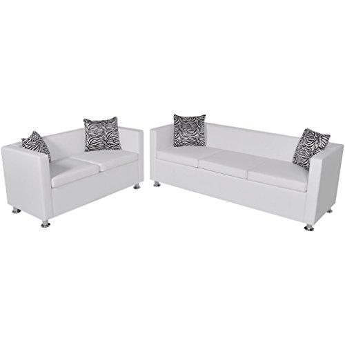Festnight Sofaset Wohnzimmersofa Couch Loungesofa 3-Sitzer-Sofa und 2-Sitzer-Sofa mit 4 Kissen Weiß