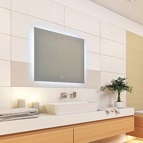 KROLLMANN Moderner LED Spiegel mit Touch Sensor, 80x60cm, Wandspiegel beleuchtet, Badspiegel mit Beleuchtung