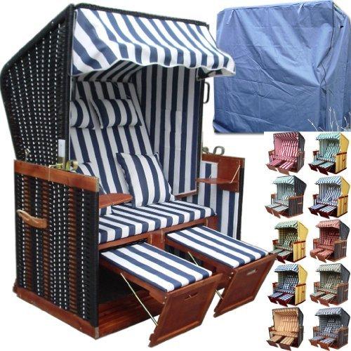 Premium Volllieger Polyrattan Strandkorb inkl. LUXUS Strandkorbhülle -wählen Sie aus 8 Farben aus -