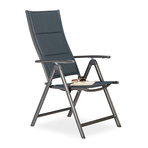 Relaxdays Gartenstuhl Hochlehner, klappbar, Rückenlehne verstellbar, gepolstert, H x B x T: 108 x 55 x 74 cm, anthrazit