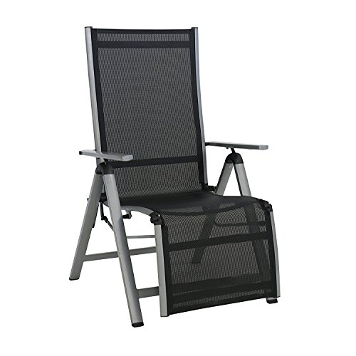 Meinposten Relaxsessel Monza schwarz Aluminium Gartenstuhl Hochlehner Klappsessel B-Ware