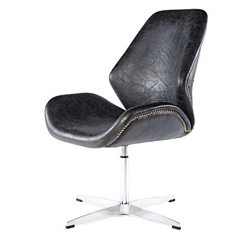 Phoenixarts Vintage Drehsessel Retro Ledersessel Schwarz Design Leder Sessel Loft Clubsessel 667