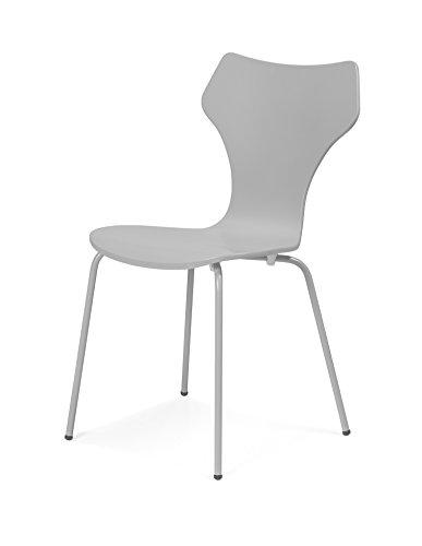 Tenzo 0600-012 Lolly 4er-Set Designer Stühle Holz, grau 53 x 45 x 85 cm
