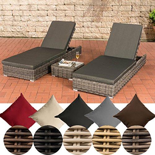 CLP 2 x Polyrattan-Sonnenliege ATESSA inkl. 1x Beistelltisch | 2 x Wellnessliege mit verstellbarer Rückenlehne und dazugehörigem Tisch | In verschiedenen Farben erhältlich