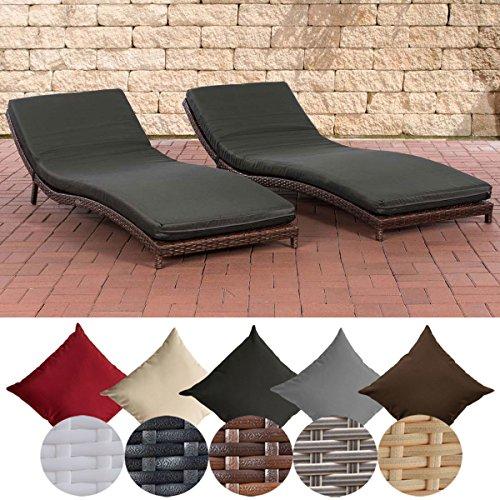 CLP 2x Polyrattan-Sonnenliege PESARO mit Polsterauflage | 2er-Set ergonomische Wellnessliegen | In verschiedenen Farben erhältlich