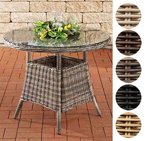 CLP Poly-Rattan Tisch FARSUND, Gartentisch rund Ø 90 cm, Höhe 74 cm, 4 Personen, 5 mm RUND Rattan, ALU-Gestell