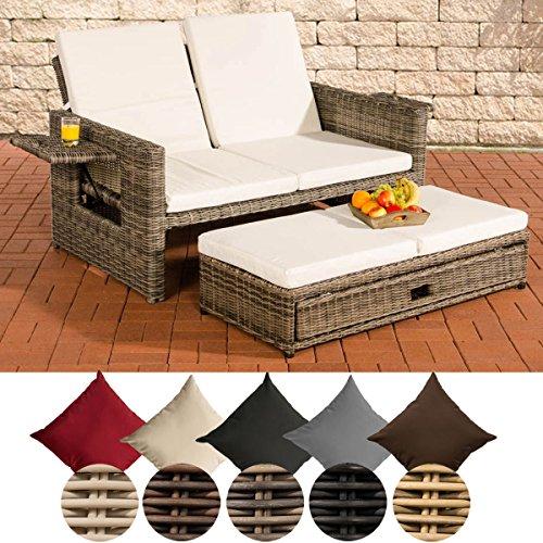 CLP Polyrattan 2er- Loungesofa ANCONA | Garten-Sofa mit ausziehbarem Fußteil und verstellbarer Rückenlehne | In verschiedenen Farben erhältlich