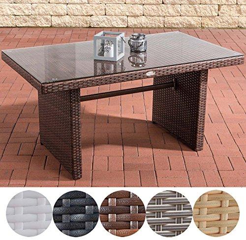 CLP Polyrattan-Gartentisch FISOLO mit einer Tischplatte aus Glas | Wetterbeständiger pflegeleichter Tisch | In verschiedenen Farben erhältlich