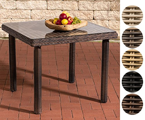 CLP Polyrattan-Gartentisch PUERTO RICO mit einer Tischplatte aus Glas | Wetterbeständiger pflegeleichter Tisch | In verschiedenen Farben und Größen erhältlich