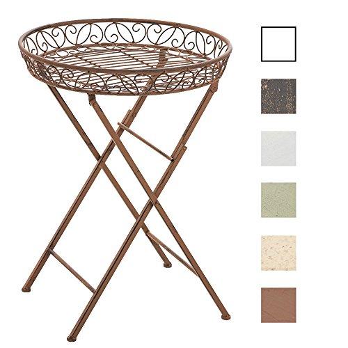 CLP Runder Eisentisch Matty in nostalgischem Design | Robuster Beistelltisch aus Eisen | Klappbarer Ablagetisch | In verschiedenen Farben erhältlich