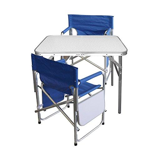Multistore 2002 3tlg. Campingmöbel Set Gartengarnitur Campingtisch Alu Klapptisch 75x55x60cm + 2x Alu Campingstühle Klappstuhl Anglerstuhl mit Ablage und Organizer Blau