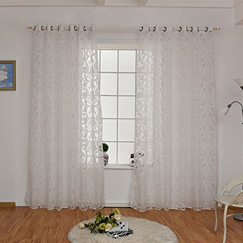 URIJK Transparent Gardine Volie Vorhang Blume Muster Stickerei Ösen Schlafenschal Dekoschal für Wohnzimmer Schlafzimmer Studierzimmer (1 Stück)