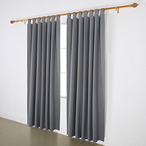 Deconovo Vorhang Blickdicht Schlaufen Vorhang Verdunkelung Gardine Wohnzimmer 245x140 cm Hellgrau 2er set