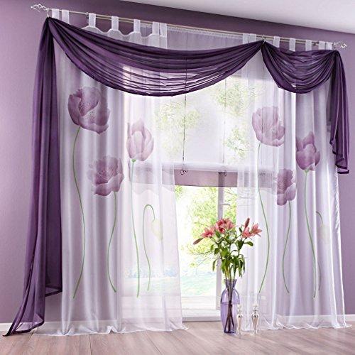 Souarts Lila Blumen Transparent Gardine Vorhang Schlaufenschal Deko für Wohnzimmer Schlafzimmer Studierzimmer 150x225cm Nur Ein Schlaufenschal