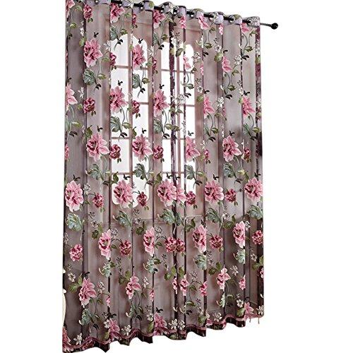lzn 2 Stück Pfingstrose Gardine aus Voile, Transparente Vorhänge fuer Wohnzimmer Schlafzimmer