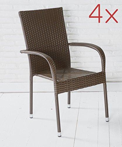 4er Set Armlehnstühle Gartenstühle Stapelstühle in braun mit Armlehnen exkl. Auflage stapelbar für Garten, Terrasse, Balkon oder Bistro - Gartenmöbel Stühle Terrassenstuhl Balkonstuhl Stuhl Gastro