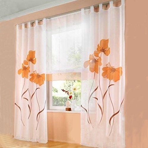 SIMPVALE 2 stücks Gardinenschal Gardine Print Blumen Vorhang für Wohnzimmer Schlafzimmer Schlaufenschal Breit 150cm (Hoehe 245cm, Orange)