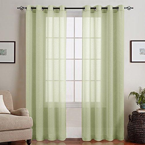 TOPICK Transparent Voile Gardinen Vorhänge für Wohnzimmer mit Ösen, 245 cm x 140 cm (H x B), 2 Stücke, Oliv