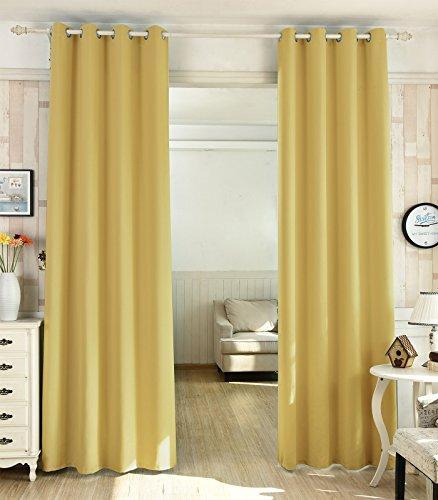 WOLTU® VH5865gb-2 , 2er Set Gardinen Vorhang blickdicht Ösen Verdunkelungsvorhänge verdunkelnd lichtundurchlässig Wohnzimmer Kinderzimmer Schlafzimmer 135x245 cm Gelb
