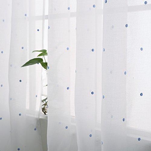 Deconovo Voile Gardinen Ösen Vorhänge Wohnzimmer Dekoschal mit Stickerei 245x140 cm Blau Punkt