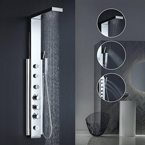 BONADE Thermostat Duschpaneel aus Edelstahl Elegant 6 Massagendüsen Brausepaneel mit Regendusche, Handbrause für Badezimmer