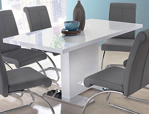 Esstisch Panos 120(160)x80 cm Säulentisch Hochglanz weiß ausziehbar Ausziehtisch Edelstahl Esszimmertisch Tisch