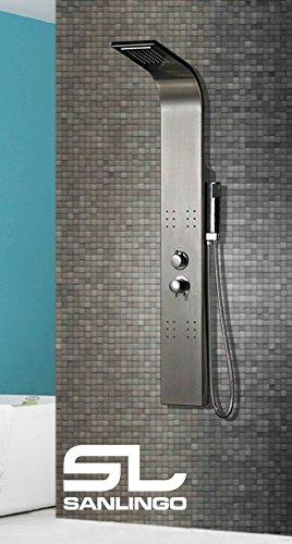 Thermostat Duschpaneel Duschsäule Regendusche Wasserfall Edelstahl Massage gebürstet Sanlingo
