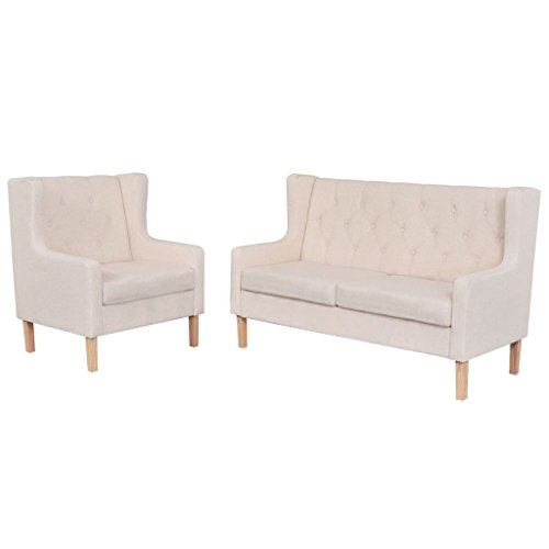 vidaXL Sofa Set 2-tlg. 2-Sitzer Stoff Cremeweiß Sofagarnitur Couch Polstersofa