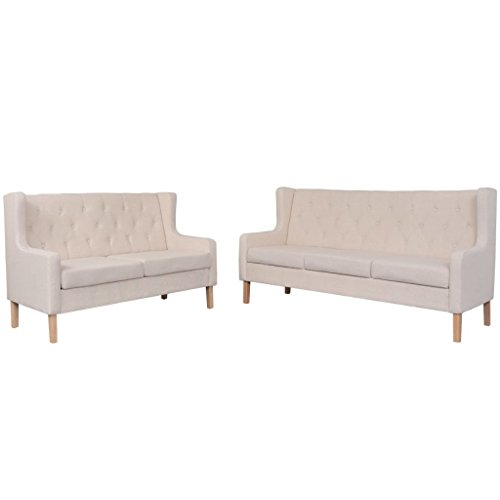 vidaXL Sofaset 2-tlg. Stoff Cremeweiß Sofagarnitur Couch Sofa Polstersofa