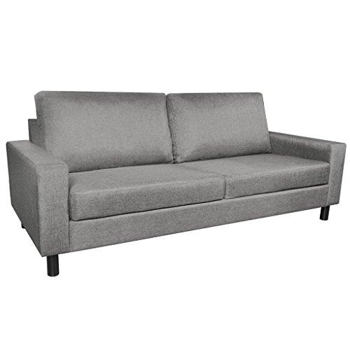 vidaXL Stoffsofa 3-Sitzer Polstersofa Lounge Couch Sitzmöbel Dunkelgrau/Hellgrau
