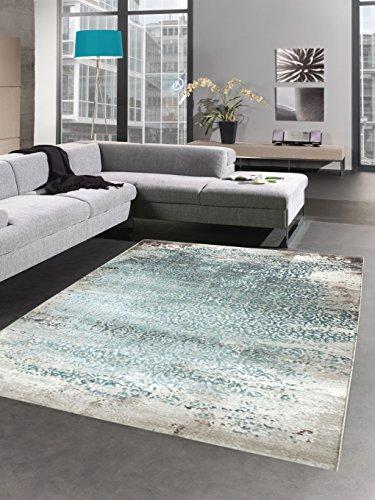 Carpetia Moderner Teppich Antik Vintage Ornamente Grau Creme türkis
