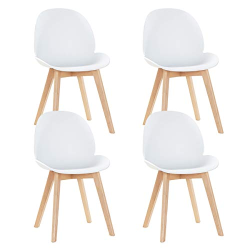 EGGREE 4er Set Skandinavisch Esszimmerstühle Küchenstuhl mit Sitzfläche aus Modern Design und Buchebeine, Weiß