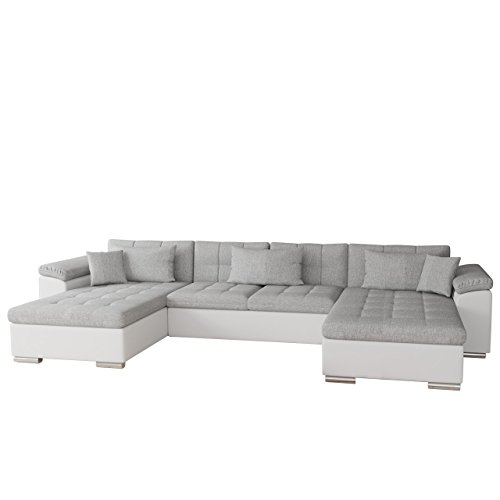 Mirjan24  Ecksofa Wicenza Bris! Elegante Big Sofa mit Schlaffunktion Bettfunktion! Technologie Cleanaboo, Schwerentflammbar, Wohnlandschaft! U-Form, Eckcouch Couch! (Soft 017 + Bristol 2460)