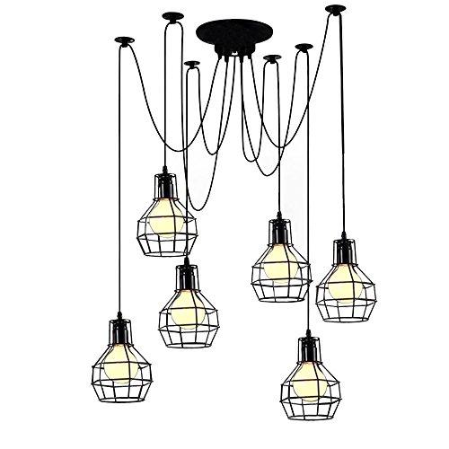 OYI Vintage Kronleuchter Retro Pendelleuchte Innen Deckenleuchte Hängeleuchte Spinnen Design mit 6 E27 Lampenfassung Metall Schwarz