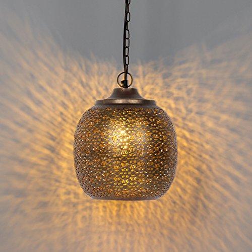QAZQA Retro Vintage runde Pendelleuchte/Pendellampe / Hängelampe/Lampe / Leuchte kupfer - Maruf 4 / Innenbeleuchtung/Wohnzimmer / Schlafzimmer/Küche Metall Rund LED geeignet E27 Max. 1 x 60 Wa