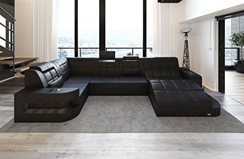 Sofa Dreams Leder Wohnlandschaft Wave U Form schwarz-schwarz