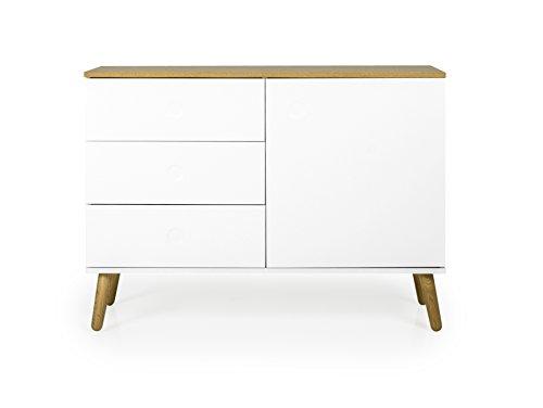 Tenzo Ace Sideboard 1 Tür, 3 Schubladen, MDF und Spanplatte, Lackiert, Weiss/Natur, One Size