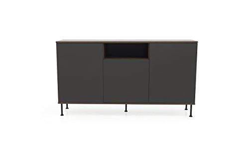 Tenzo Daxx Sideboard 3 Türen, Spanplatte, Anthrazit/Nussbaum, One Size