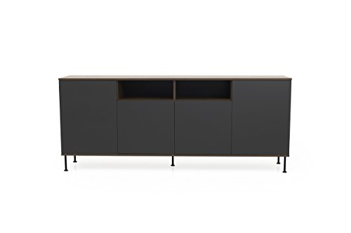 Tenzo Daxx Sideboard 4 Türen, Spanplatte, Anthrazit/Nussbaum, One Size