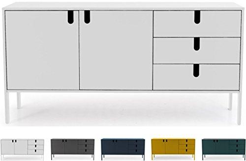 Tenzo UNO 8555-001 Designer Sideboard 2 Türen, 3 Schubladen Lackiert, MDF + Spanplatten, matt Soft-Close Funktion, Weiss, 86 x 171 x 46 cm (HxBxT)