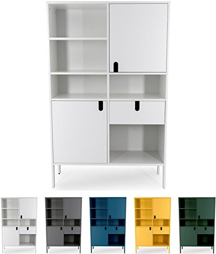 Tenzo UNO 8563-001 Designer Highboard 2 Türen, 1 Schublade Lackiert, MDF + Spanplatten, matt Soft-Close Funktion, Weiss, 176 x 109 x 40 cm (HxBxT)