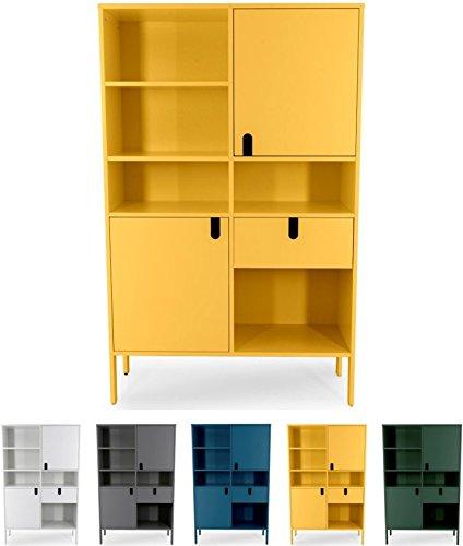 Tenzo UNO 8563-029 Designer Highboard 2 Türen, 1 Schublade Lackiert, MDF + Spanplatten, matt Soft-Close Funktion, Senf, 176 x 109 x 40 cm (HxBxT)