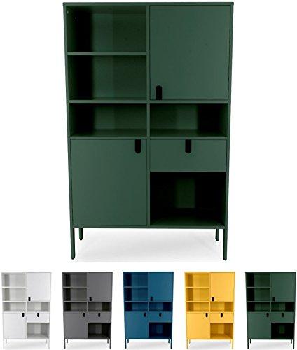 Tenzo UNO 8563-031 Designer Highboard 2 Türen, 1 Schublade Lackiert, MDF + Spanplatten, matt Soft-Close Funktion, Forest Grün, 176 x 109 x 40 cm (HxBxT)