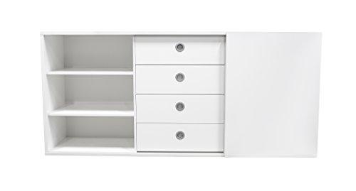 tenzo 1194-001 Panorama Designer Sideboard, Spanplatte, weiß, 50 x 209 x 97 cm