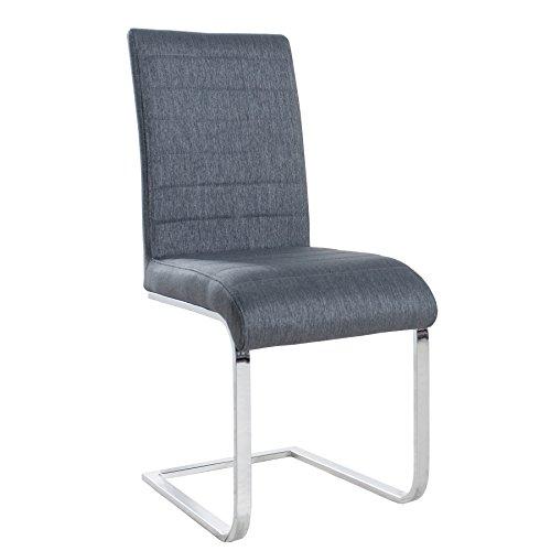 Design Freischwinger Stuhl STUART grau Flachstahl Strukturstoff Esszimmer Stoff
