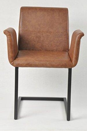 SalesFever Freischwinger Gaia in hellbraun, Stuhl in elegantem Design, Esszimmerstuhl mit Kunstleder bezogen, schwarz lackiertem Fuß, 2er Set