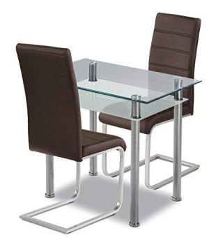 agionda® Esstischset Tabola 90x60 mit 2 Freischwinger Kunstleder braun kleine Küche
