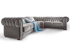 Moebella Chesterfield Ecksofa Samt Stoff Grau Silber Knopfheftung Massivholz Füße Designer Couch