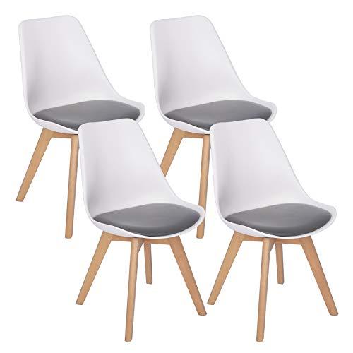 WOLTU 4er Set Esszimmerstühle Küchenstuhl Design Stuhl Esszimmerstuhl Kunstleder Holz 2 farbig Weiß + Grau BH97wgr-4